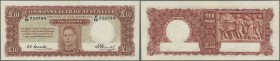 Australia: 10 Pounds 1949 KGV Rennick 60, signed Coombs-Watt, light center fold and another light vertical fold, pressed, no holes or tears, still cri...