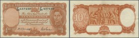 Australia: 10 Shillings 1942 Rennick R13, signatures Armitage-McFarlane, plus Armitage as Governor Commenwealth Bank, center fold, light horizontal fo...