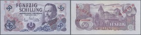 "Austria: pair of the 50 Schilling 1962 with overprint and perforation ""MUSTER"" (Specimen), P.137s, both notes with minor creases in the paper and tiny..."