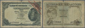 Azores: 2500 Reis 1909 P. 8b, stronger used with strong folds and a center tear, stronger border wear and stains in paper, no repairs, still original ...