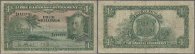 Bahamas: 4 Shillings L.1919 P. 5 KGV portrait, seldom offered note, used with folds and strong center and horizontal fold, small center hole, stains, ...