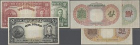 Bahamas: set of 3 notes containing 4 Shillings 1936 P. 9c (VF), 10 Shillings 1936 P. 10b (F+) and 1 Pounc 1936 P. 11b (F+) nice set, all notes without...