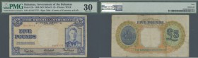 Bahamas: 5 Pounds ND(1945-47) P. 12b, nice serial number #017777, PMG graded 30 Very Fine.