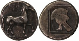 KINGS OF MACEDON, ALEXANDER I, 498-454 BC. AR, tetrobol.