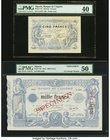 Algeria Banque d'Algerie 5 Francs; 1000 Francs 15.9.1920; 16.4.1924 Pics 71b; 76s Two Specimens PMG Extremely Fine 40; About Uncirculated 50. A pleasi...