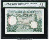 Algeria Banque d'Algerie 50 Francs (ND 1920-38) Pick 80s Specimen PMG Choice Uncirculated 64. A simply stunning design, and widely sought after in Spe...
