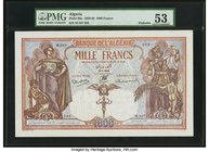 Algeria Banque de l'Algerie 1000 Francs 25.1.1938 Pick 83a PMG About Uncirculated 53. A stunning example of this large format banknote, in which all t...
