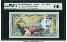 Algeria Banque de l'Algerie 500 Francs ND (1958) Pick 117s Specimen PMG Gem Uncirculated 66 EPQ. A bright Specimen for an interim type that was issued...