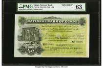 Egypt National Bank of Egypt 100 Pounds 20.11.1904 Pick 6s Specimen PMG Choice Uncirculated 63. A show stopper highest denomination Specimen from the ...