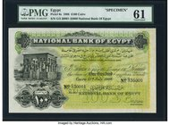 Egypt National Bank of Egypt 100 Pounds 17.7.1906 Pick 6s Specimen PMG Uncirculated 61. An iconic and very rare, portraying Trajan's Kiosk on Philae. ...