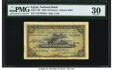 Egypt National Bank of Egypt 25 Piastres 7.6.1940 Pick 10b PMG Very Fine 30. The smallest denomination from second issue for the National Bank of Egyp...