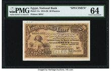 Egypt National Bank of Egypt 50 Piastres 25.2.1915 Pick 11s Specimen PMG Choice Uncirculated 64. A great World War I era Egyptian note complete with a...