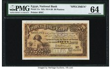 Egypt National Bank of Egypt 50 Piastres 24.2.1915 Pick 11s Specimen PMG Choice Uncirculated 64. A spectacularly iconic small denomination Specimen is...