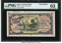 Egypt National Bank of Egypt 5 Pounds 21.11.1918 Pick 13s Specimen PMG Choice Uncirculated 63. The Great Pyramids of Giza with a view of the Nile are ...
