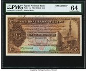 Egypt National Bank of Egypt 10 Pounds 13.11.1919 Pick 14s Specimen PMG Choice Uncirculated 64. A Specimen that is well centered within balanced margi...
