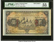 Egypt National Bank of Egypt 50 Pounds 3.9.1913 Pick 15as Specimen PMG About Uncirculated 55. An important and rare higher denomination type featuring...