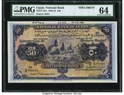 Egypt National Bank of Egypt 50 Pounds 7.12.1944 Pick 15cs Specimen PMG Choice Uncirculated 64. A nicely preserved N/6 prefix Specimen with serials 00...