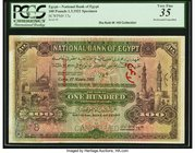 Egypt National Bank of Egypt 100 Pounds 1.3.1921 Pick 17as Specimen PCGS Very Fine 35. A grandly sized, highest denomination Specimen from this post-W...