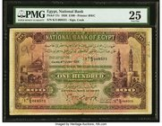Egypt National Bank of Egypt 100 Pounds 4.6.1936 Pick 17c PMG Very Fine 25. A delightful example with well a well-blended pastel color palate. The fro...