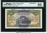 Egypt National Bank of Egypt 5 Pounds 11.1.1945 Pick 19cs Specimen PMG Choice Uncirculated 64. A wonderfully detailed and colorful Specimen executed t...
