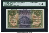 Egypt National Bank of Egypt 5 Pounds 15.7.1942 Pick 19s Specimen PMG Choice Uncirculated 64. A handsome Specimen from 1942, and desirable in this for...