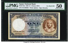 Egypt National Bank of Egypt 1 Pound 25.4.1930 Pick 22a PMG About Uncirculated 50. A beautiful, early date is seen on this popular denomination. Scarc...