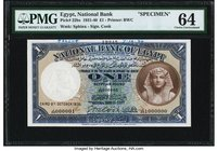 Egypt National Bank of Egypt 1 Pound 8.10.1936 Pick 22bs Specimen PMG Choice Uncirculated 64. A handsome Specimen of the scarce 1936 date, which is se...