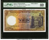 Egypt National Bank of Egypt 10 Pounds 11.10.1935 Pick 23as Specimen PMG Extremely Fine 40. Tutankhamen's mask is the watermark on this very colorful ...