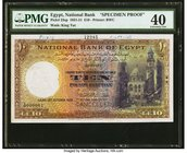 Egypt National Bank of Egypt 10 Pounds 12.10.1935 Pick 23sp Specimen Proof PMG Extremely Fine 40. An early, scarce date is seen on this beautiful deno...