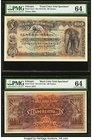 Ethiopia Bank of Abyssinia 100 Thalers ND (1915-1929) Pick 4cts1; 4cts2 Front and Back Color Trial Specimens PMG Choice Uncirculated 64 (2). A handsom...