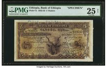 Ethiopia Bank of Ethiopia 5 Thalers 1.5.1932 Pick 7s Specimen PMG Very Fine 25 Net. This note features the bank's headquarters as well as the head of ...