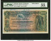 Ethiopia Bank of Ethiopia 100 Thalers 1.5.1932 Pick 10s Specimen PMG About Uncirculated 55. This Specimen of the popular 100 Thalers note was printed ...