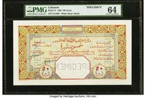 Lebanon Banque de Syrie et du Grand-Liban 1925 50 Livres Pick 7s Specimen PMG Choice Uncirculated 64. A simply stunning Specimen created by the Bank o...