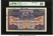 Lebanon Banque de Syrie et du Grand-Liban 100 Livres 1935 Pick 12Fs Specimen PMG Very Fine 30. An always desirable Lebanese 100 Livres note, which was...