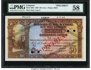 Lebanon Banque de Syrie et du Liban 50 Livres 9.1.1939 Pick 30bs Specimen PMG Choice About Unc 58. A lovely Specimen example of the highest denominati...