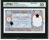 Lebanon Banque de Syrie et du Liban 5 Livres 1945 Pick 49s Specimen PMG About Uncirculated 55. A lightly handled Specimen example of the last issues p...