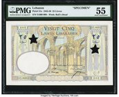 Lebanon Banque de Syrie et du Liban 25 Livres 1950 Pick 51s Specimen PMG About Uncirculated 55. Wonderful French printing and polychrome colors are se...