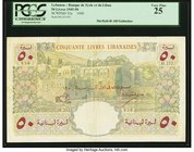 Lebanon Banque de Syrie et du Liban 50 Livres 1950 Pick 52a PCGS Very Fine 25. Lebanon gained independence from France in 1943, and Syria in 1945. Thi...