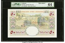 Lebanon Banque de Syrie et du Liban 50 Livres 1950 Pick 52s Specimen PMG Choice Uncirculated 64. A scarce and pretty Specimen of this second highest d...