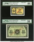 Morocco Banque d'Etat du Maroc 5; 10 Francs 1943-44 Pick 24s; 25s Two Specimens PMG Choice About Unc 58; Choice Uncirculated 64 Net. A pair of WWII Sp...