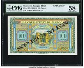 Morocco Banque d'Etat du Maroc 100 Francs 1.5.1943 Pick 27s Specimen PMG Choice About Unc 58. Another colorful example of this wartime Specimen note, ...