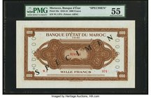 Morocco Banque d'Etat du Maroc 1000 Francs 1.5.1943 Pick 28s Specimen PMG About Uncirculated 55. A handsome and interesting American-style Specimen, a...