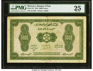 Morocco Banque d'Etat du Maroc 5000 Francs 1.8.1943 Pick 32 PMG Very Fine 25. The largest denomination from a WWII issue that did not circulate for ve...