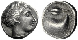 The M.L. Collection of Coins of Magna Graecia and Sicily   Campania, Cuma  Didrachm circa 420-380, AR 7.48 g. Nymph head r. Rev. KYMAION clockwise pa...