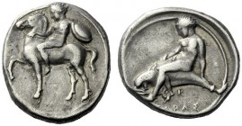 The M.L. Collection of Coins of Magna Graecia and Sicily   Calabria, Tarentum  Nomos circa 385-380, AR 7.81 g. Horseman l., holding shield and bridle...