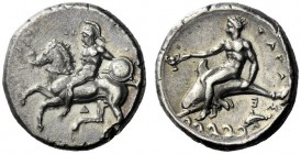The M.L. Collection of Coins of Magna Graecia and Sicily   Calabria, Tarentum  Nomos circa 344-340, AR 7.74 g. Helmeted horseman galloping l., holdin...
