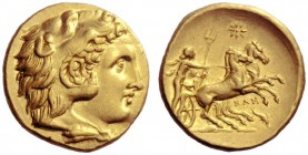 The M.L. Collection of Coins of Magna Graecia and Sicily   Calabria, Tarentum  Stater circa 281-276, AV 8.56 g. Head of youthful Heracles r., wearing...