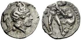 The M.L. Collection of Coins of Magna Graecia and Sicily   Lucania, Heraclea  Nomos circa 400-370, AR 8.09 g. Head of Athena r., wearing Attic helmet...