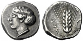 The M.L. Collection of Coins of Magna Graecia and Sicily   Metapontum  Nomos circa 430-400, AR 7.78 g. Diademed head of Demeter l. Rev. MET Ear of ba...