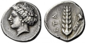 The M.L. Collection of Coins of Magna Graecia and Sicily   Metapontum  Nomos circa 340-330, AR 7.57 g. Head of Demeter l. Rev. META Ear of barley wit...